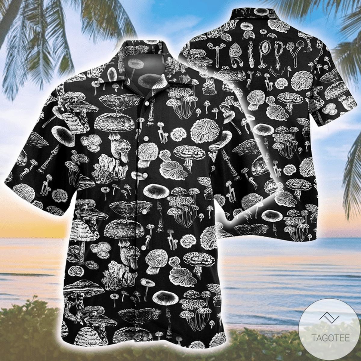 Drop Shipping Mushroom Pattern Black And White Hawaiian Shirt