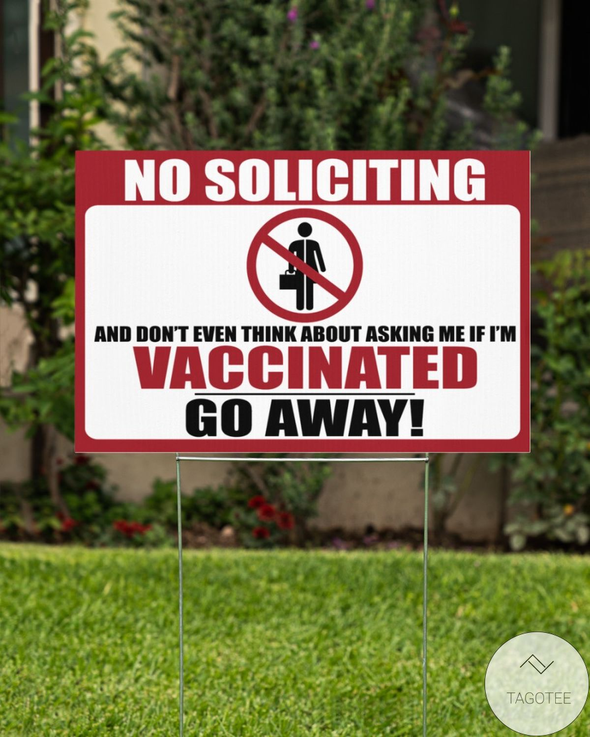 No Soliciting Vaccinated Yard Signz