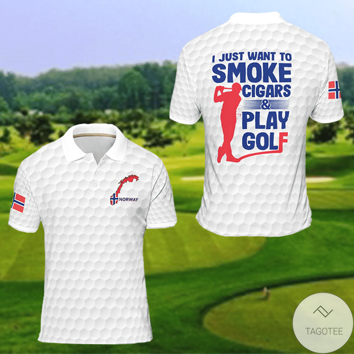 Norway I Just Want To Smoke Cigars And Play Golf Polo Shirt Polo Shirt