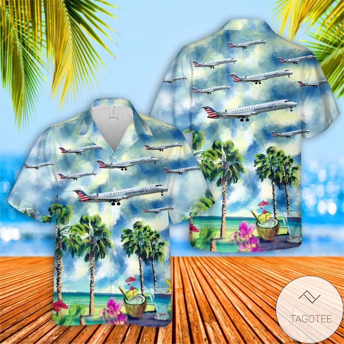 PSA Airlines Bombardier CRJ-701ER Hawaiian Shirt, Beach Shorts