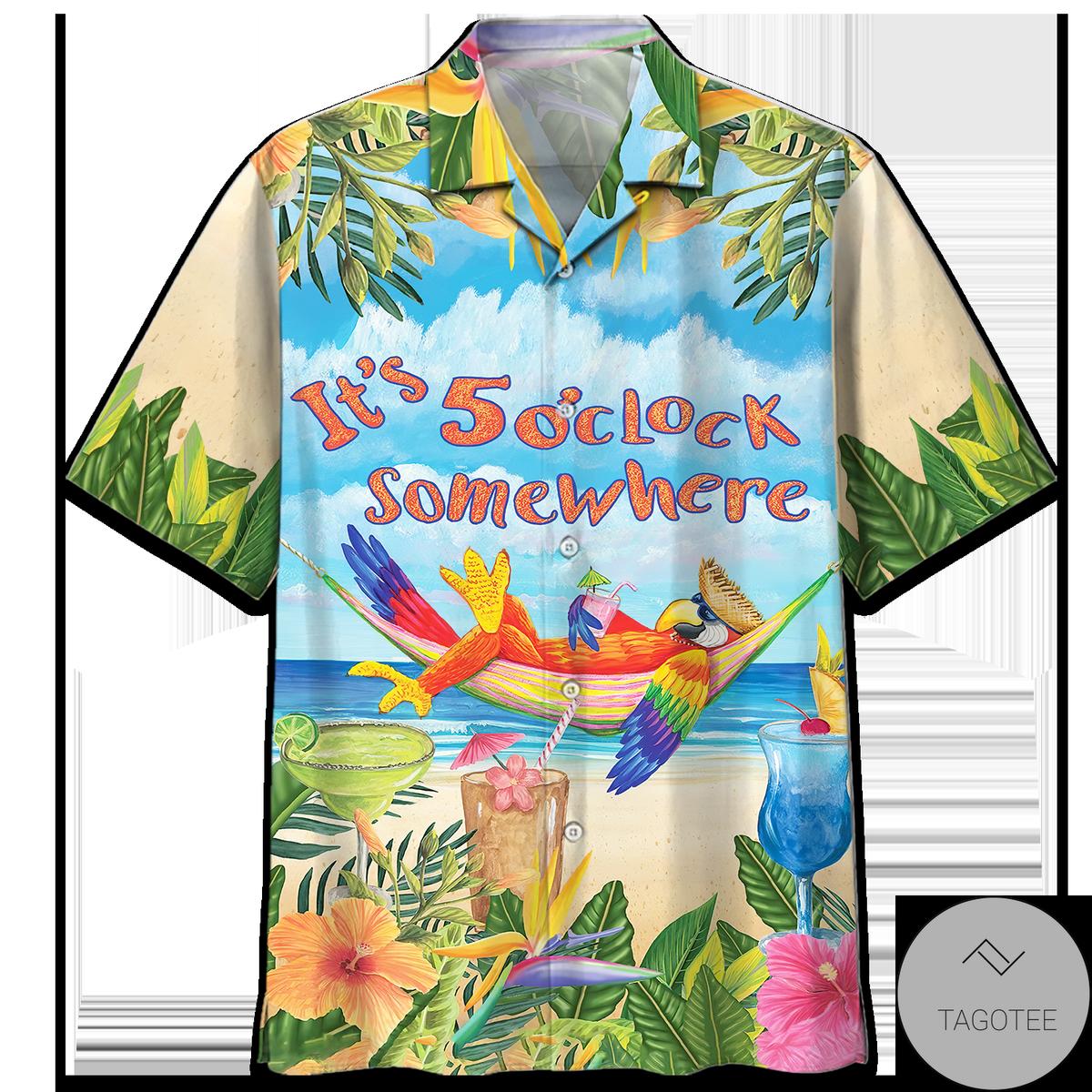Parrot It's Five O'clock Somewhere Hawaiian Shirt, Short