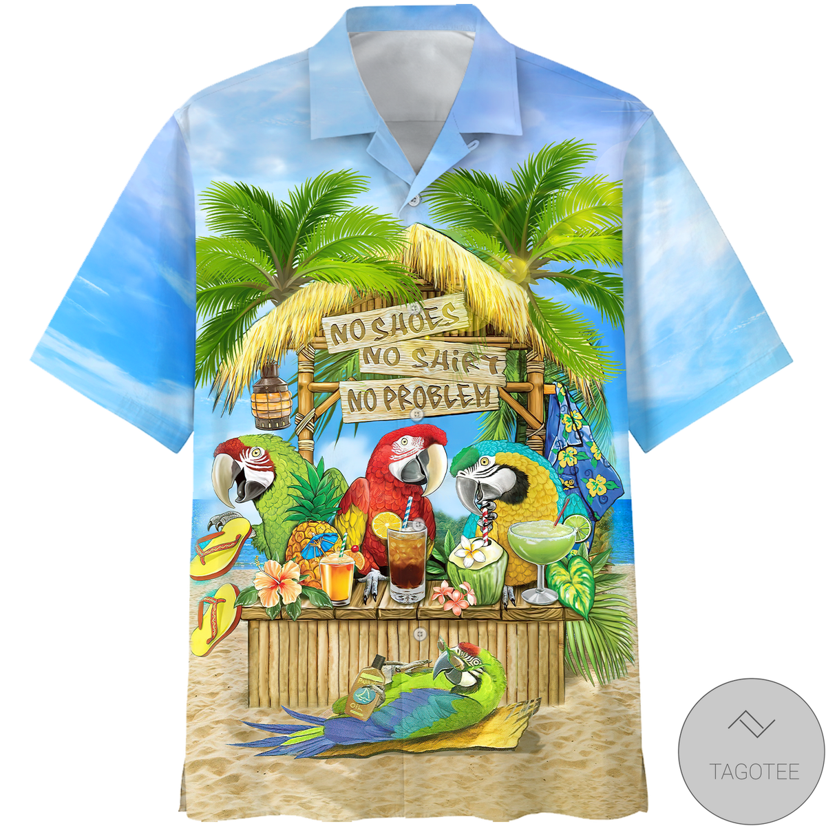 Parrot No Shoes No Shirt No Problem Hawaiian Shirt, Beach Shorts