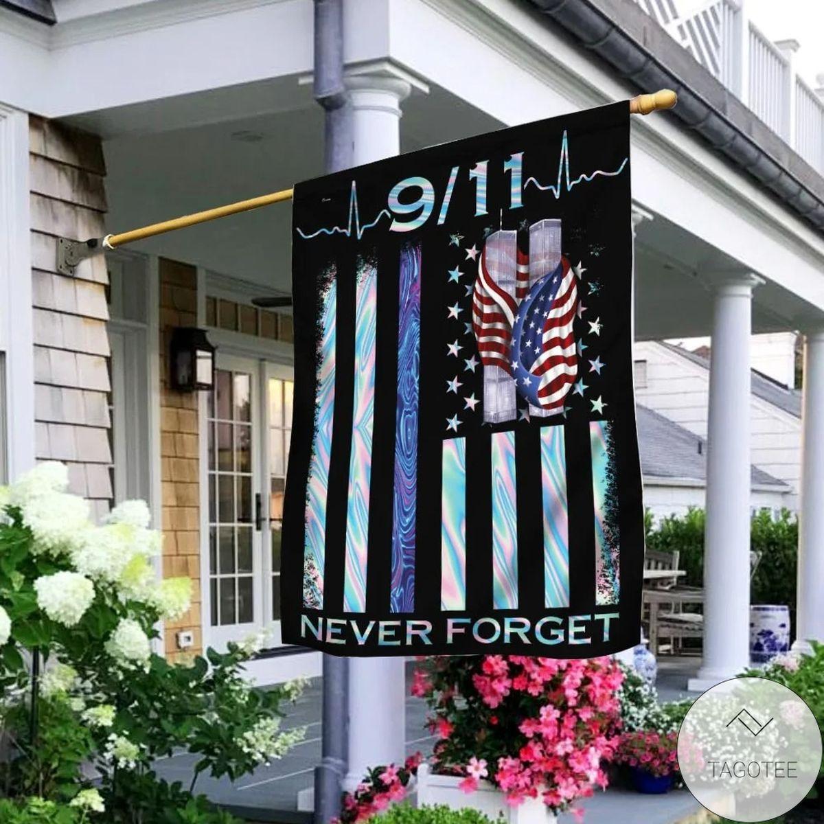 Patriot Day 911 Never Forget Hologram House Flag