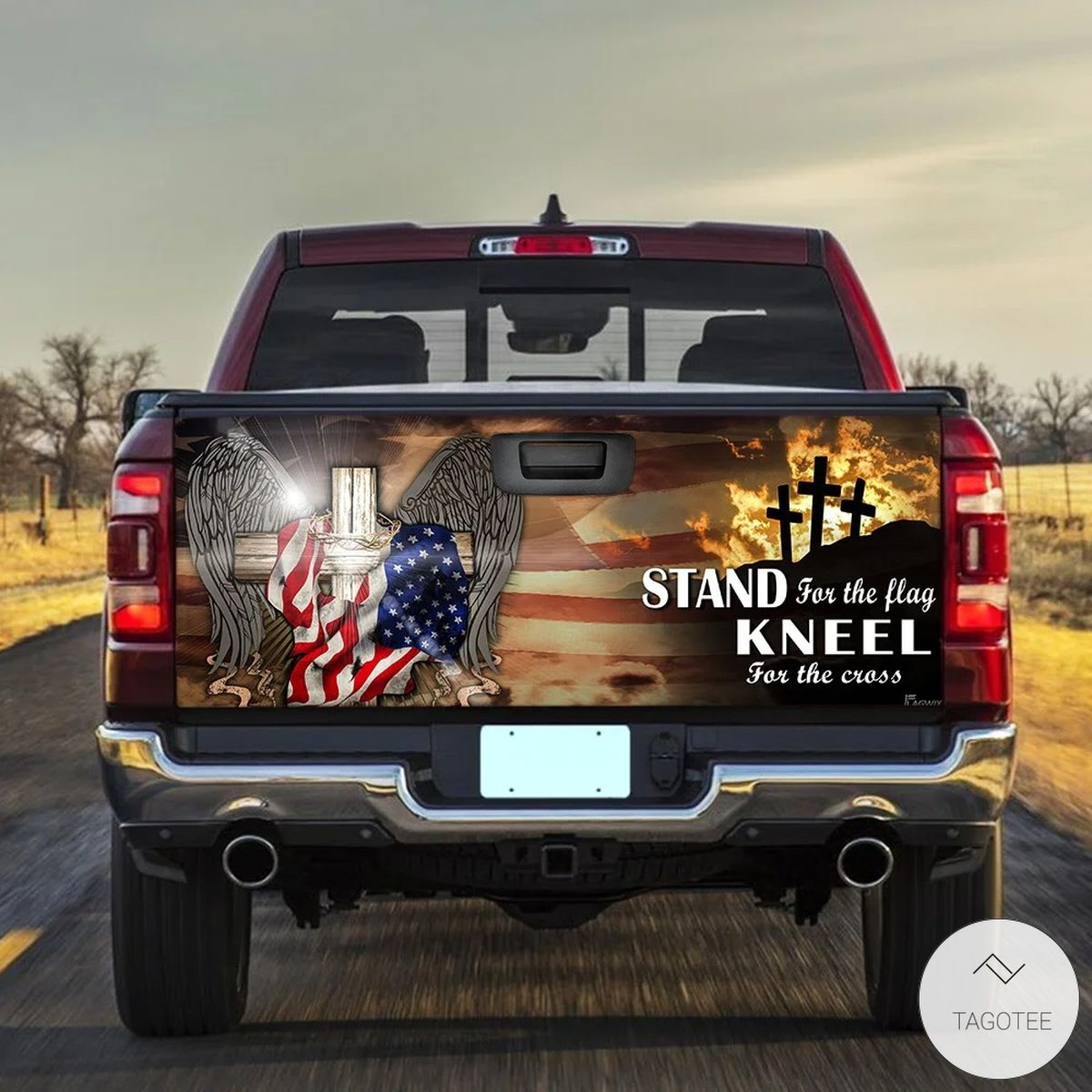 Patriotic Cross American Stand For The Flag Kneel For The Cross Tailgate Wrap
