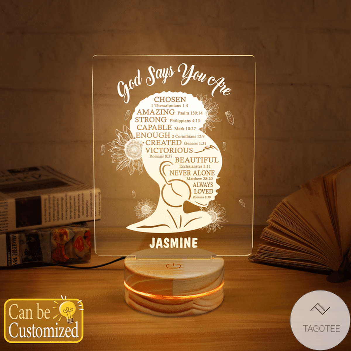 Personalized Afro Girl God Say You Are Chosen Amazing Strong Capable UV LED Lamp, Night Light Lamps