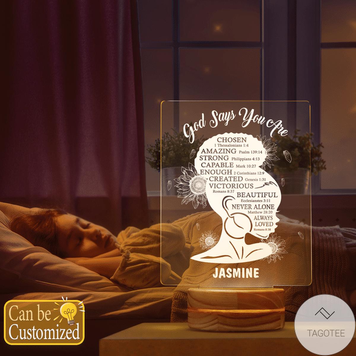 Personalized Afro Girl God Say You Are Chosen Amazing Strong Capable UV LED Lamp, Night Light Lampsz