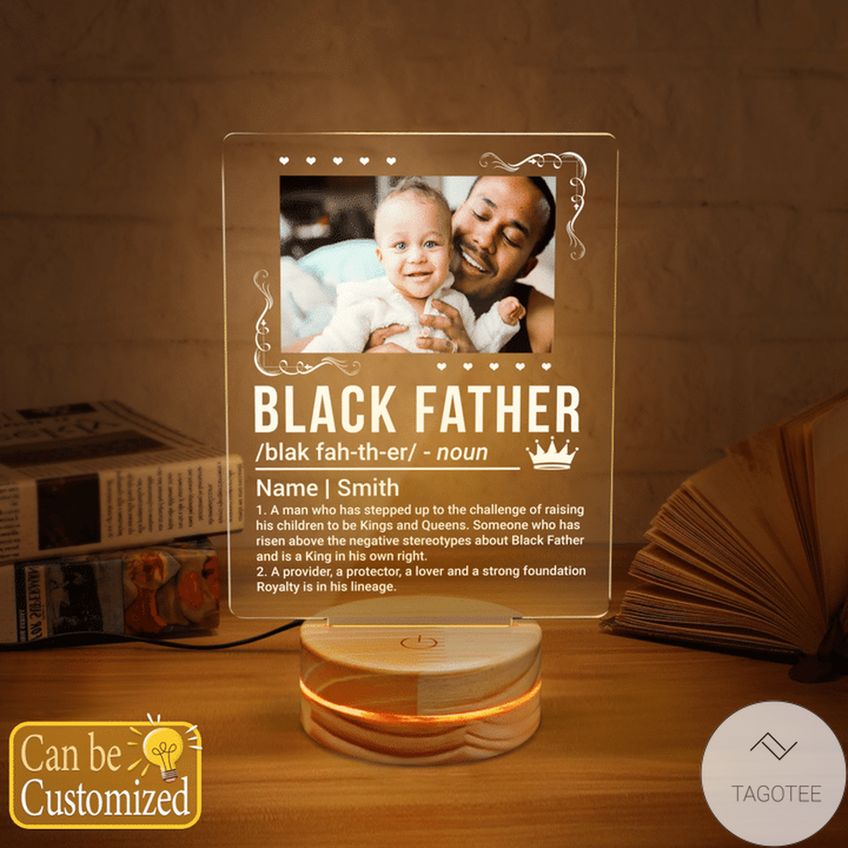 Personalized Black Father Definition Custom Photo UV LED Lamp, Night Light Lamps