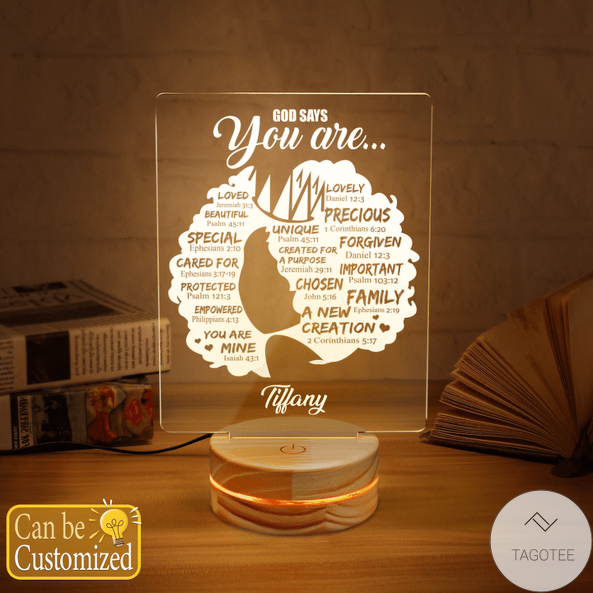 Personalized Black Girl God Says You Are Loved Beautiful Special UV LED Lamp, Night Light Lamps
