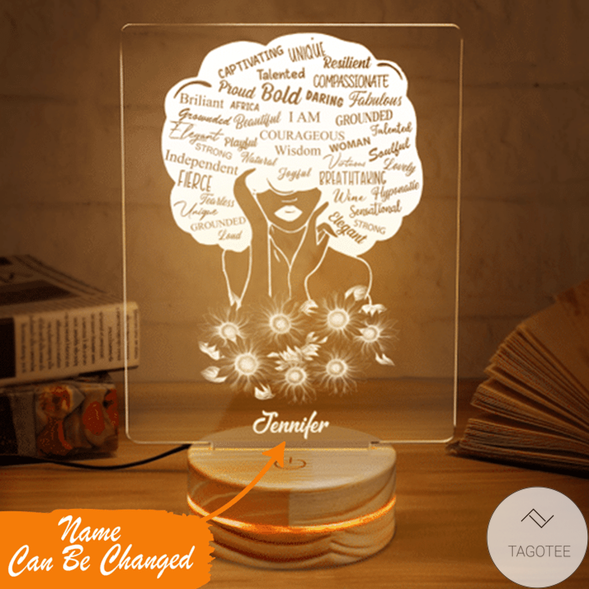 Personalized Black Girl I Am Unique Bold Proud Resilient UV LED Lamp, Night Light Lamps