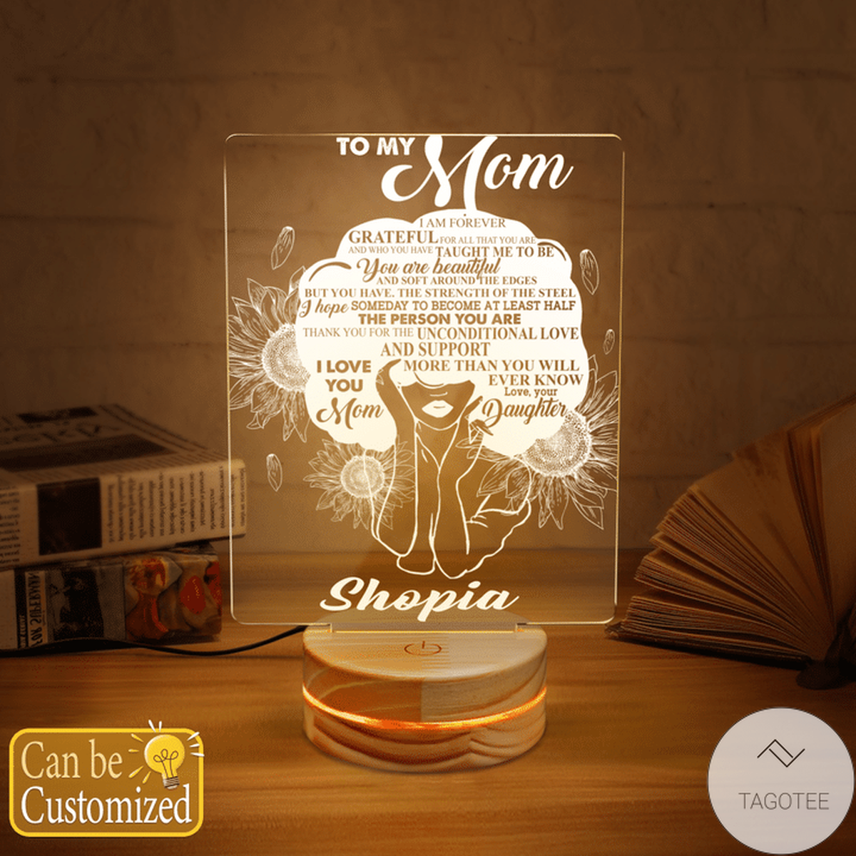 Personalized Black Girl To My Mom I Am Forever Grateful For All That You Are UV LED Lamp, Night Light Lamps