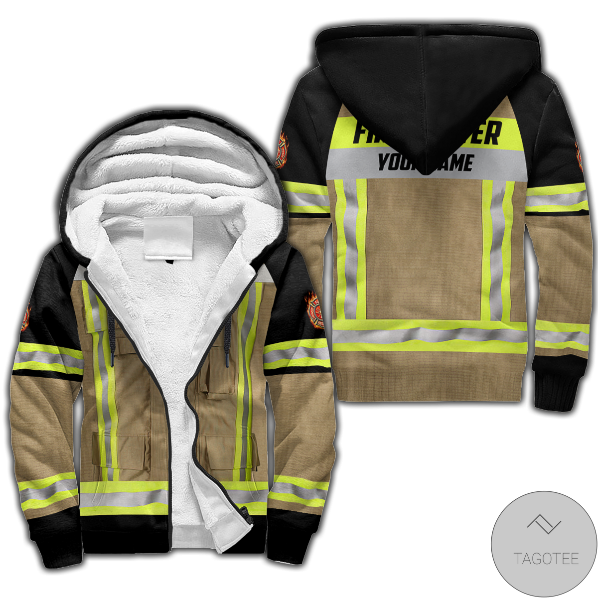 Personalized Firefighter Custom Fleece Hoodie