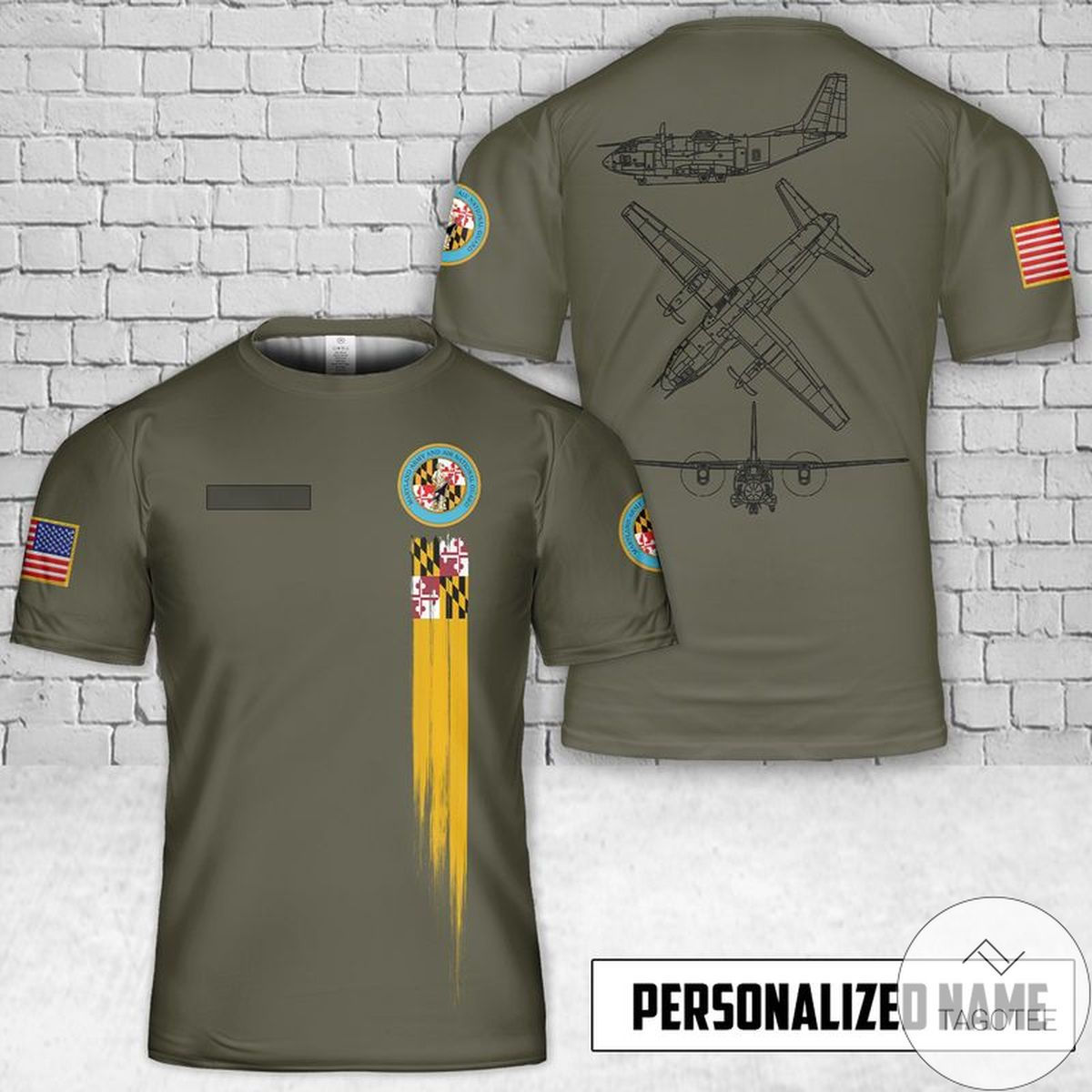 Personalized Maryland Air National Guard C-27J Spartan 3D T-Shirt