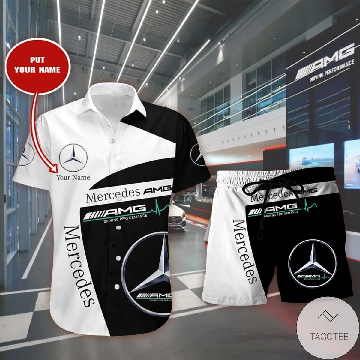 Personalized Mercedes-AMG Hawaiian Shirt, Beach Shorts