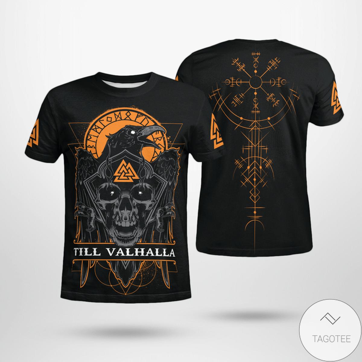 Raven - Til Valhalla Vegvisir Viking 3D T-shirt