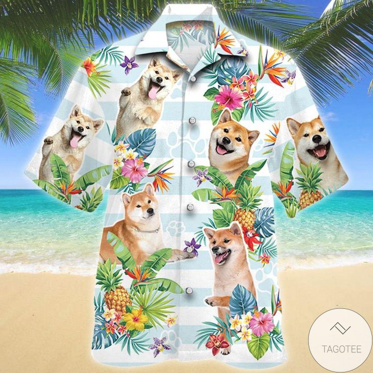 Hot Deal Shiba Inu Dog Tropical Flower Hawaiian Shirt
