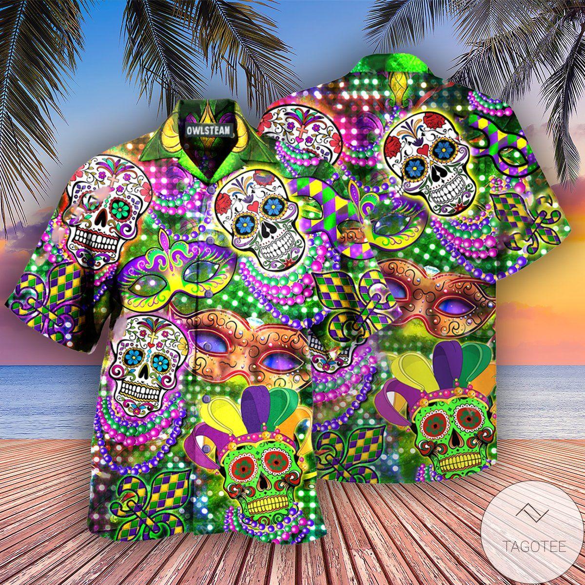 Skull Mardi Gras Hawaiian Shirt