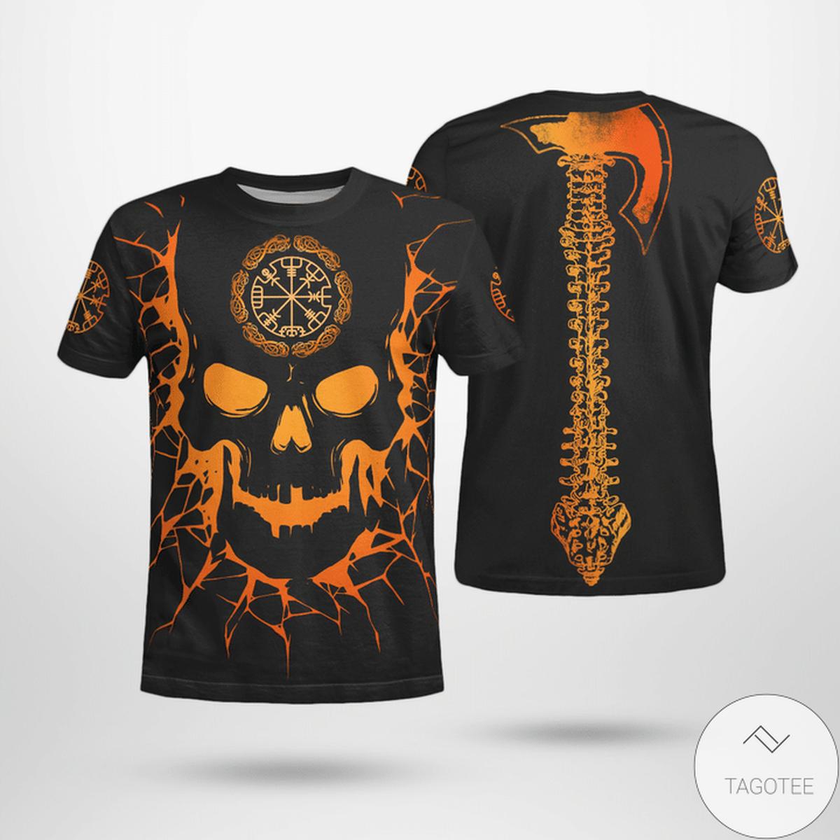 Skull Viking And Backbone Is An Ax 3D T-shirt