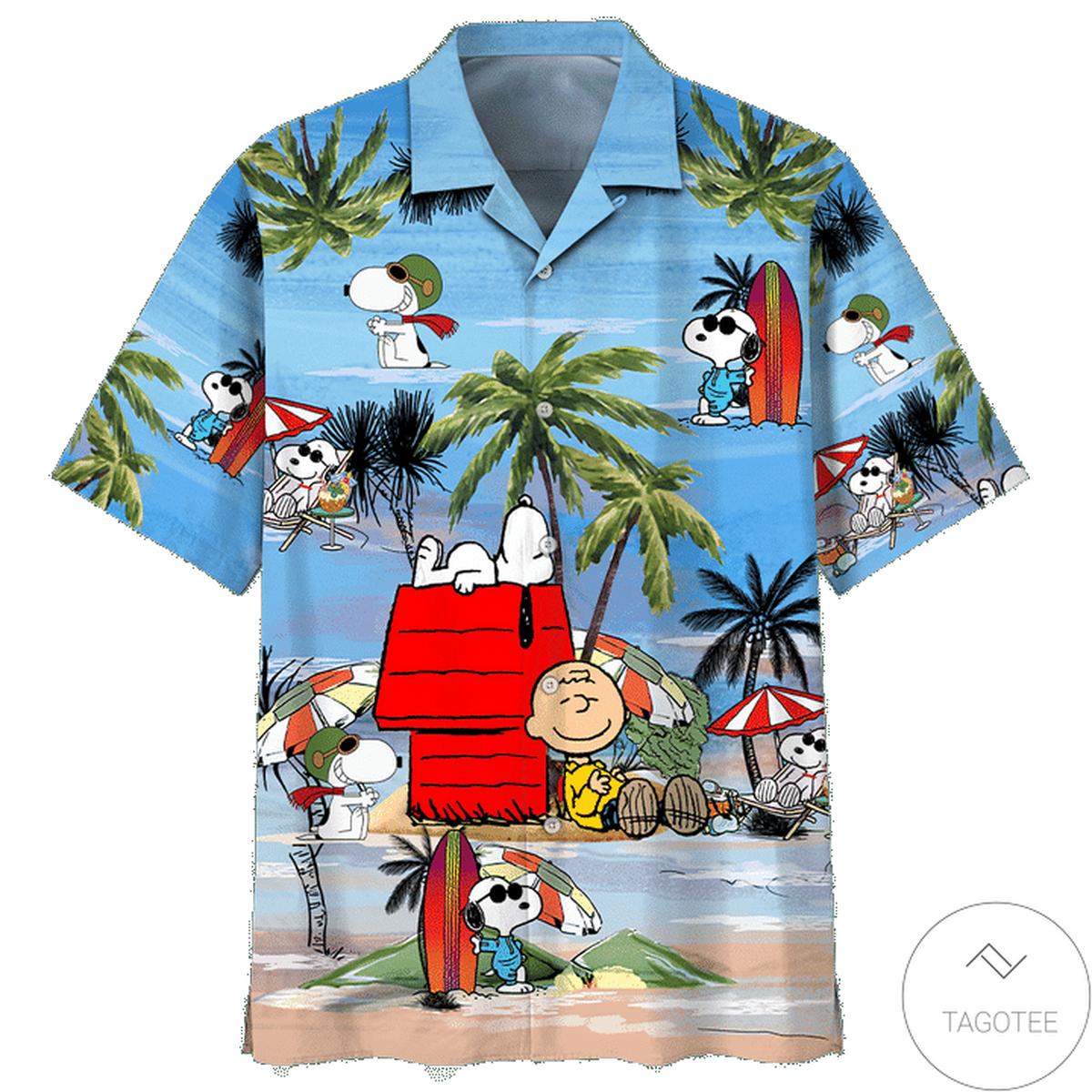 Real Snoopy Summertime Peanuts Hawaiian Shirt