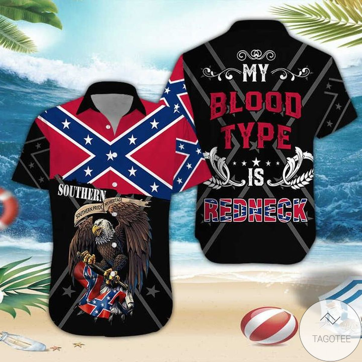Southern Eagle My Blood Type Is Redneck Hawaiian Shirt