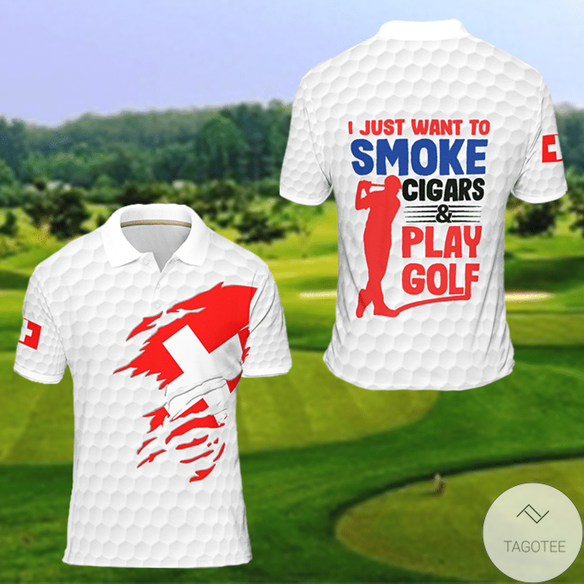 Switzerland I Just Want To Smoke Cigars And Play Golf Polo Shirtx