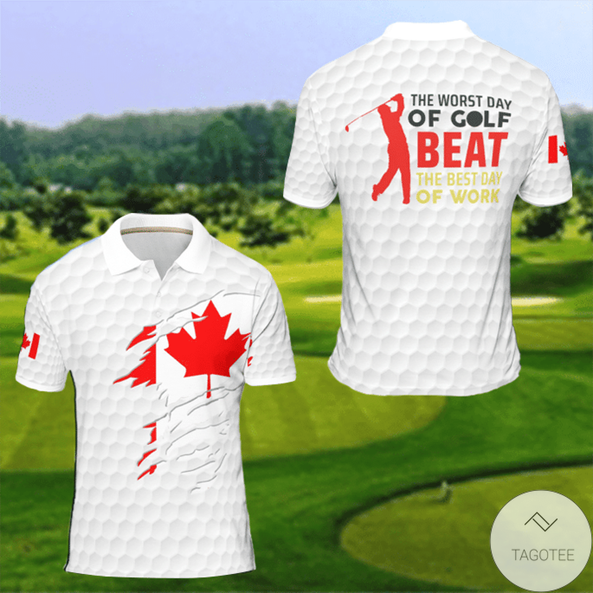 The Worst Day Of Golf Beat The Best Day Of Work Canda Flag Polo Shirt