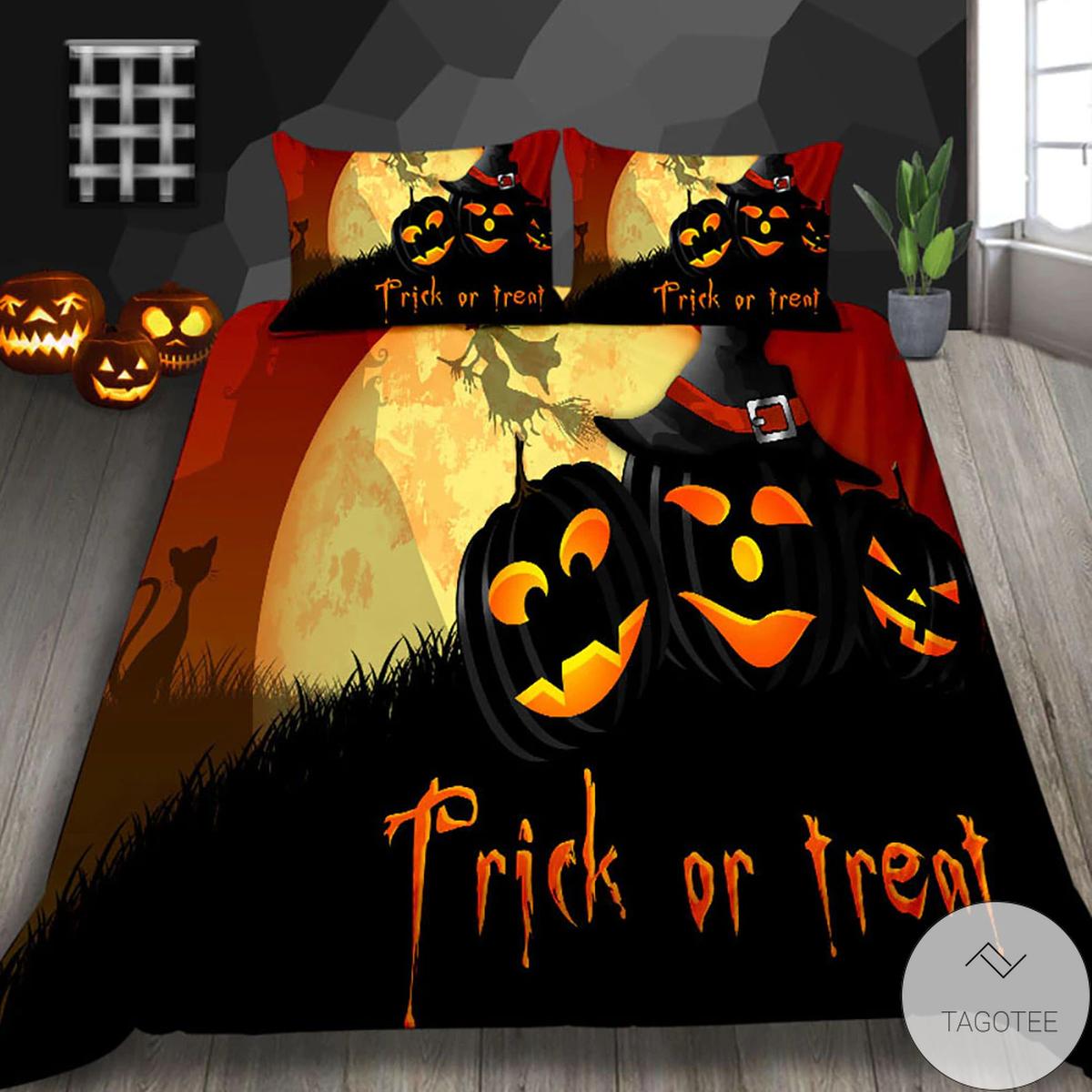 Only For Fan Trick Or Treat Pumpkin Halloween Bedding Set