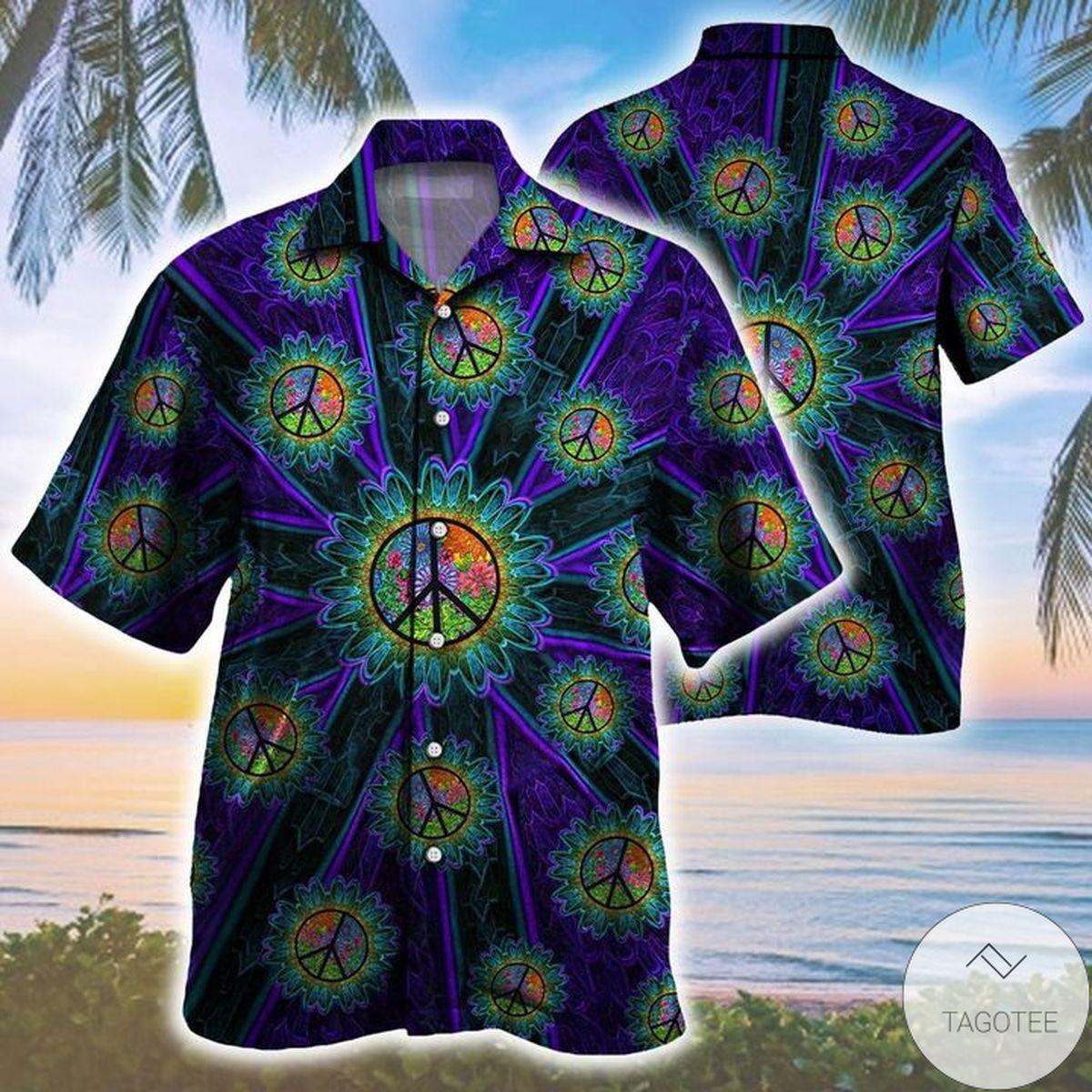 Trippy Peace Sign Pattern Hawaiian Shirt