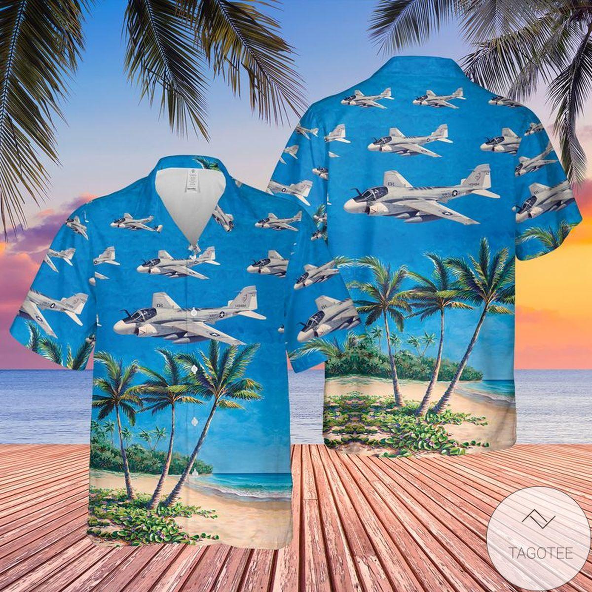 US Navy Grumman A-6 Intruder Hawaiian Shirt, Beach Shorts