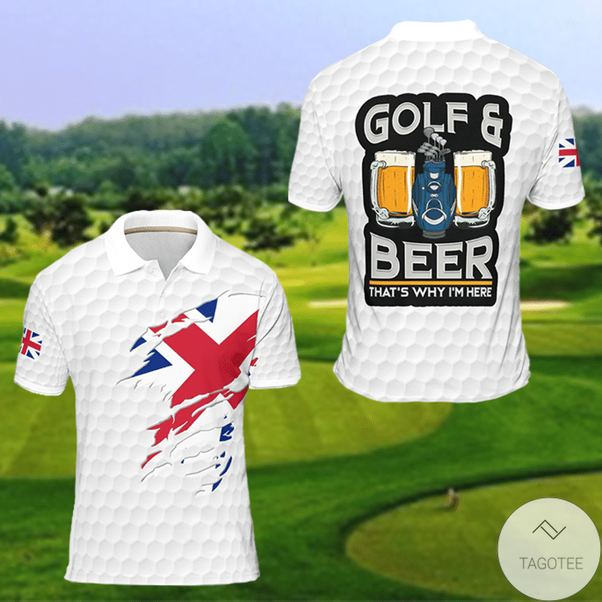 United Kingdom Flag Golf And Beer That's Why I'm Here Polo Shirt