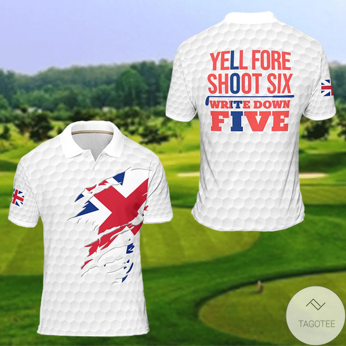 United Kingdom Flag Golf Yell Fore Shoot Six Write Down Five Polo Shirt