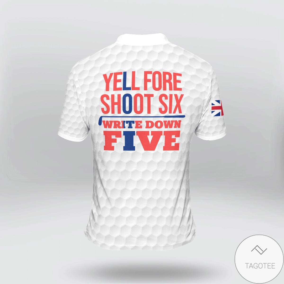 United Kingdom Flag Golf Yell Fore Shoot Six Write Down Five Polo Shirtz