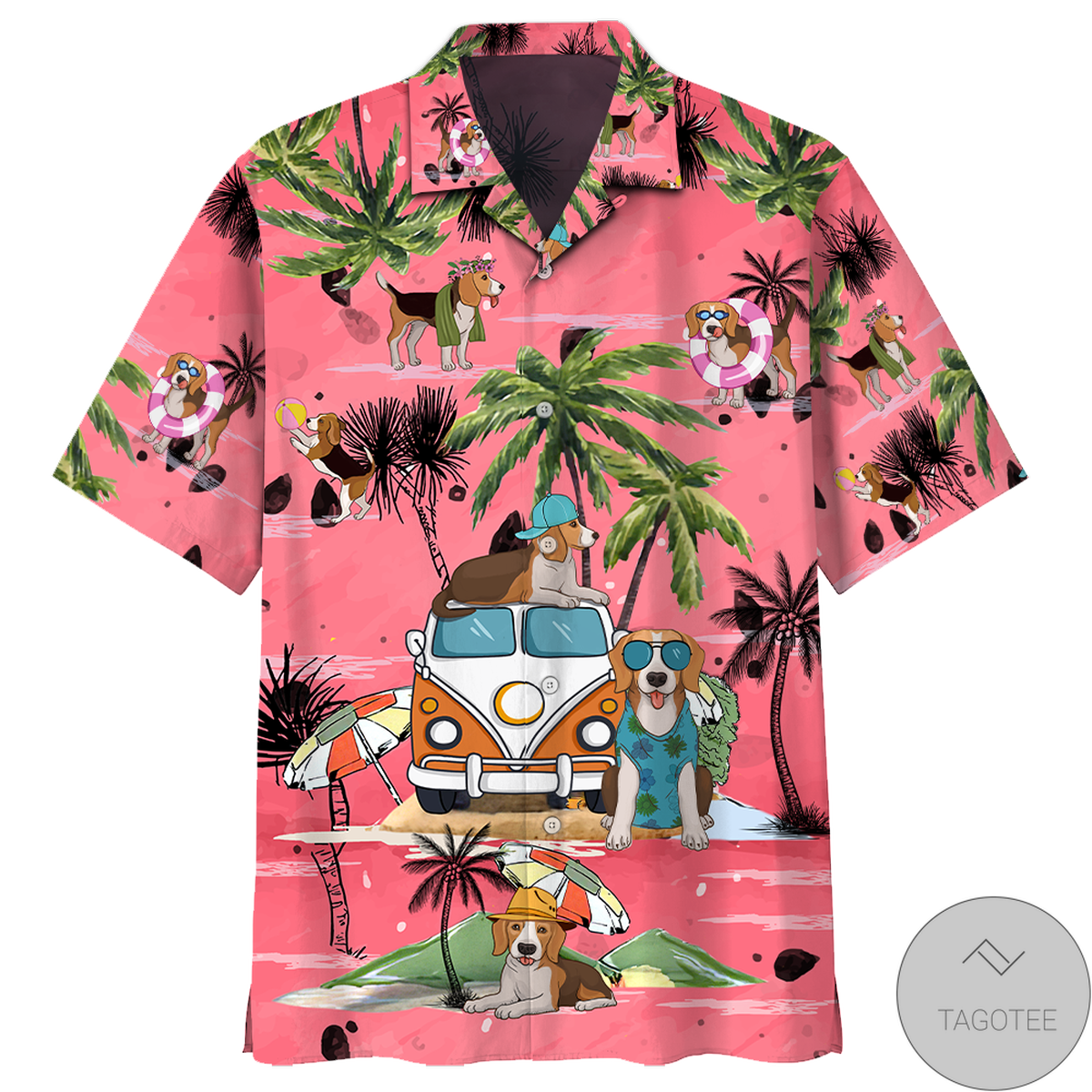 VW Hippie Bus Beagle Summer Beach Hawaiian Shirt