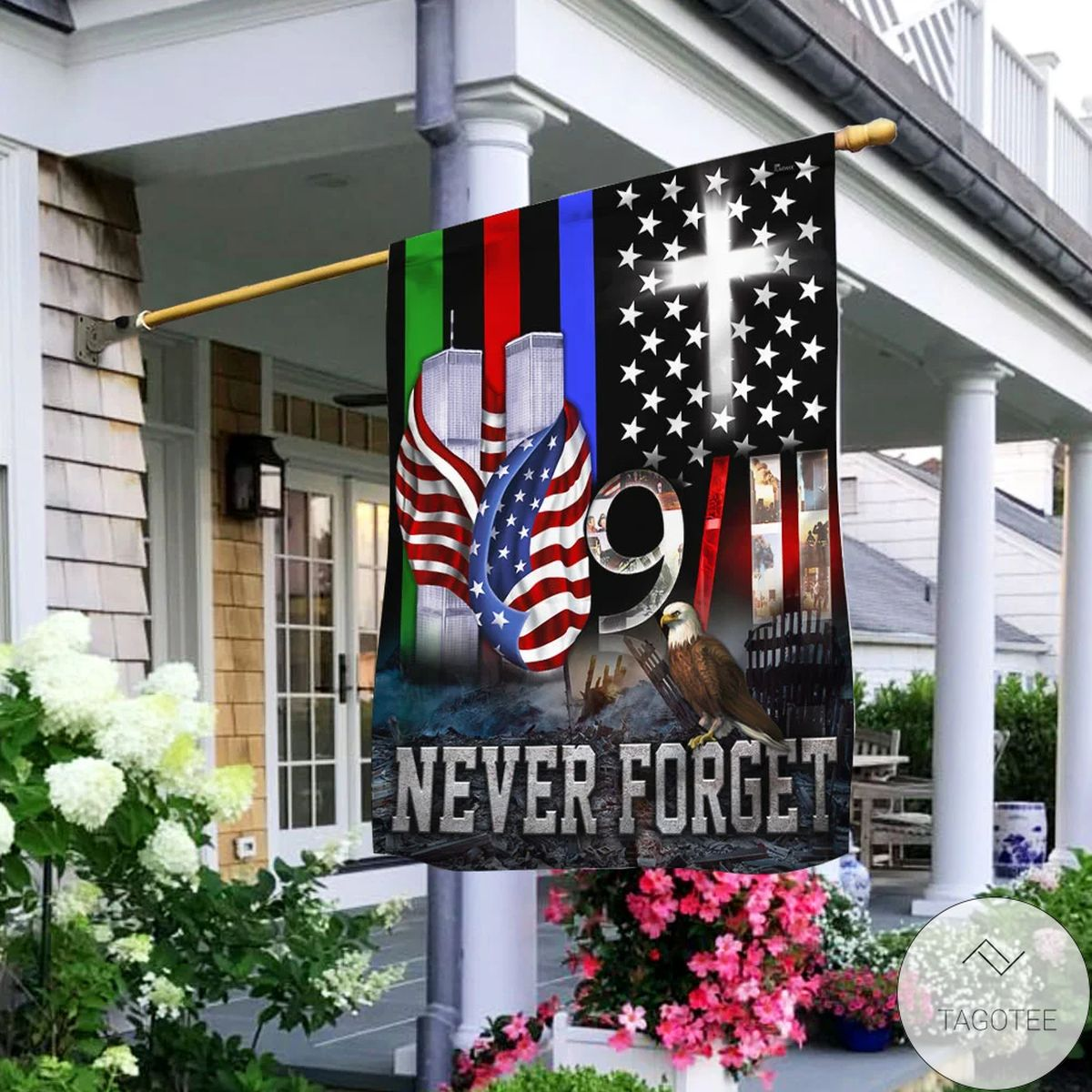 9 11 Never Forget Police Military And Fire Thin Line Flag
