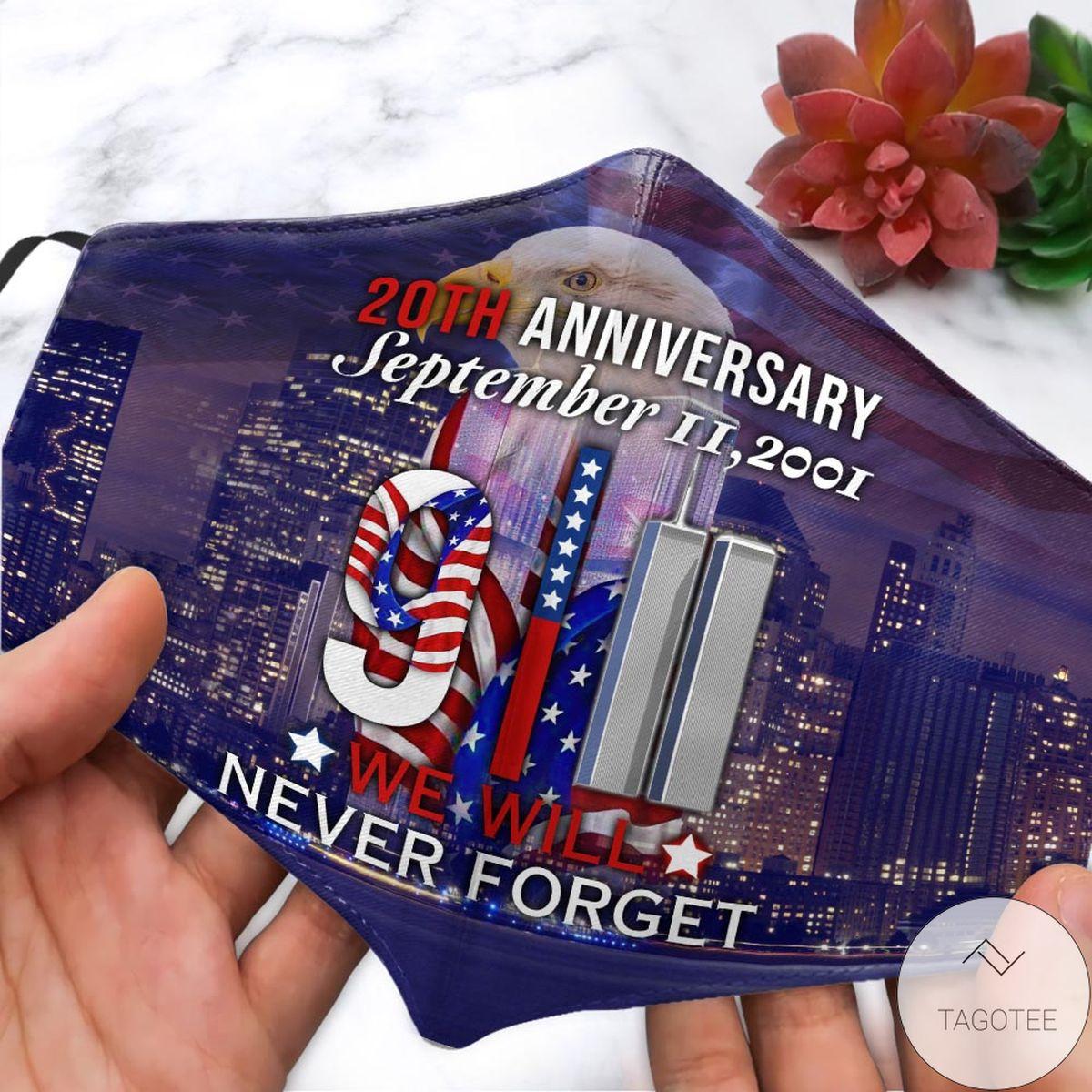 911 Memorial 20th Anniversary September Face Mask