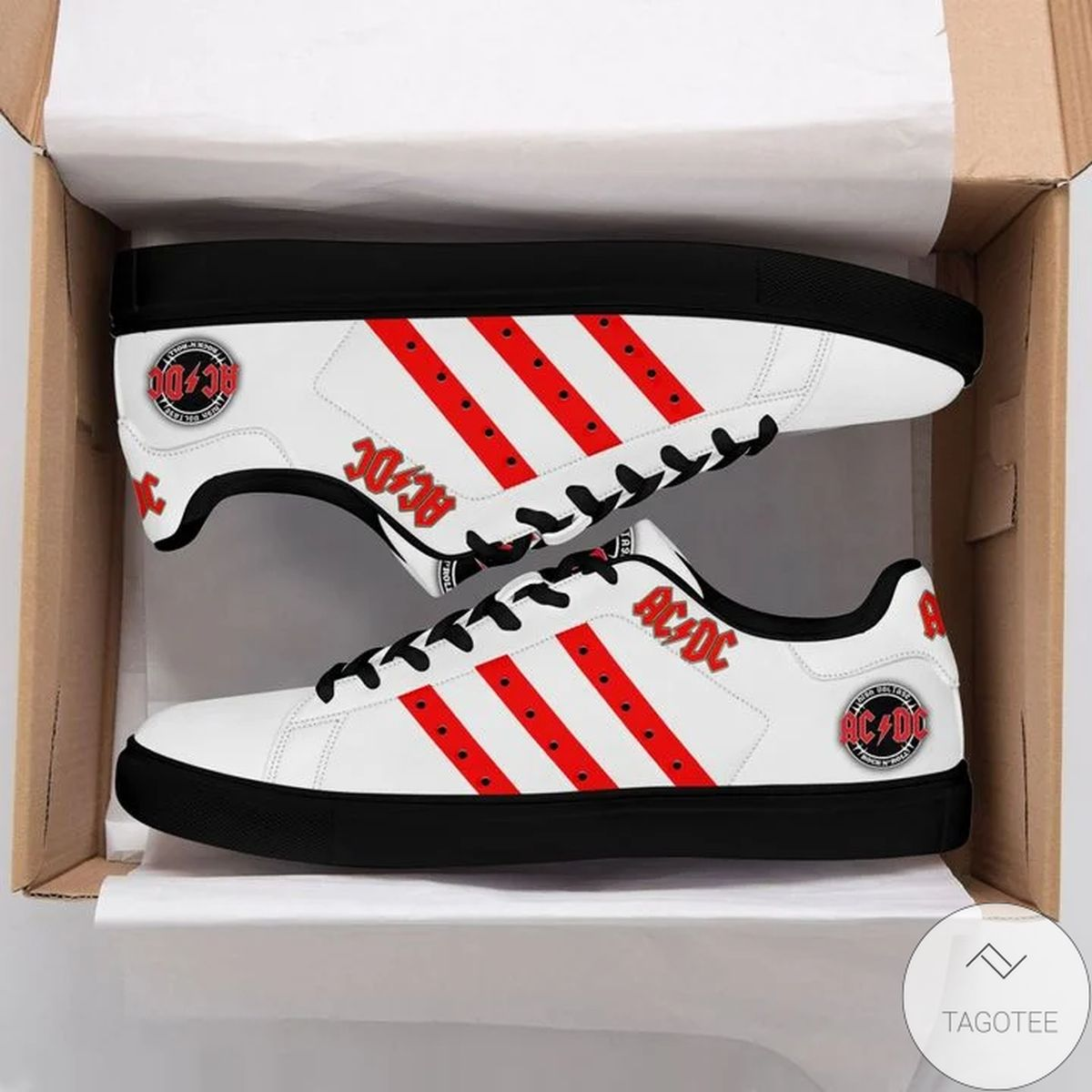 Acdc Red White Stan Smith Shoes