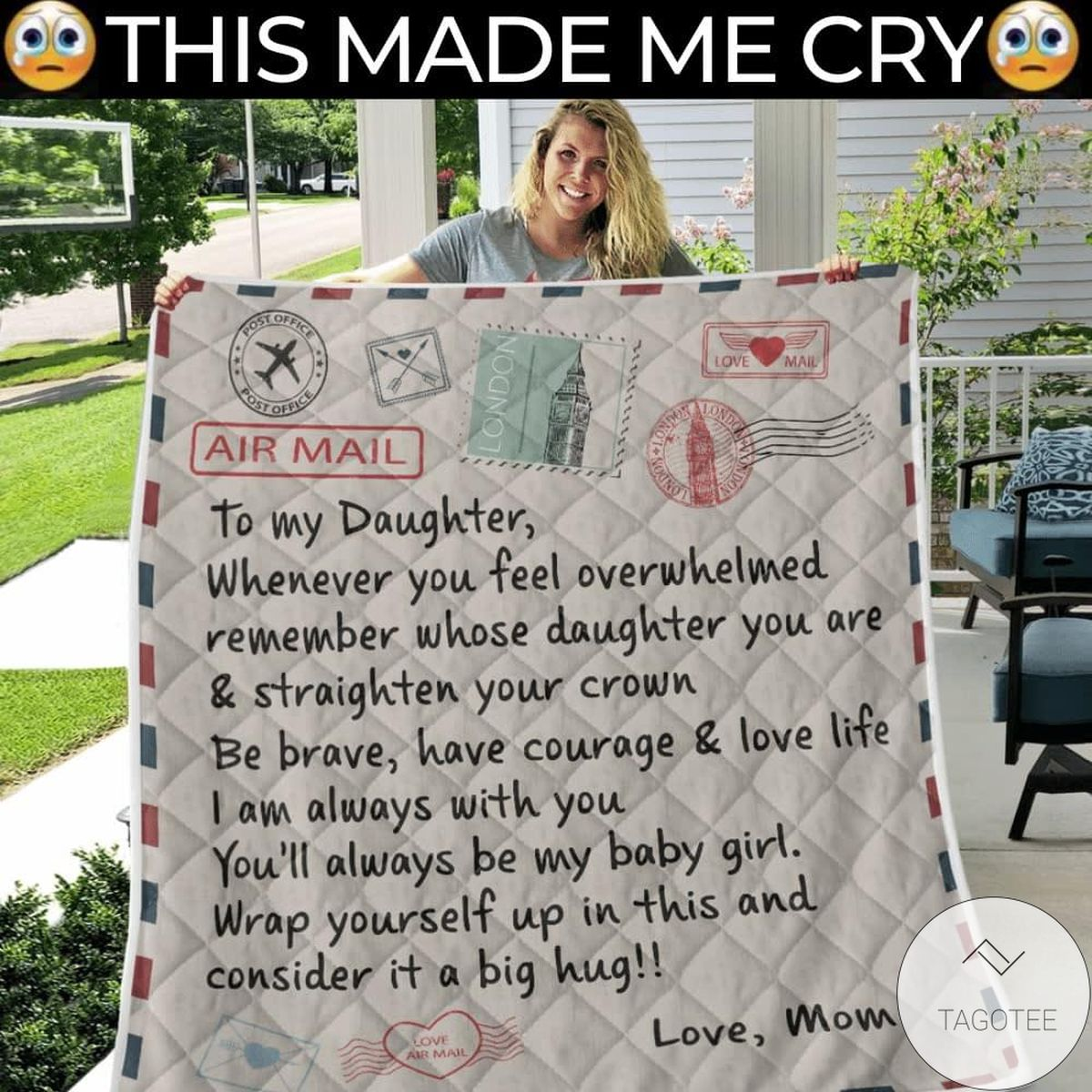 Air Mail To My Daughter Love Mom Quilt
