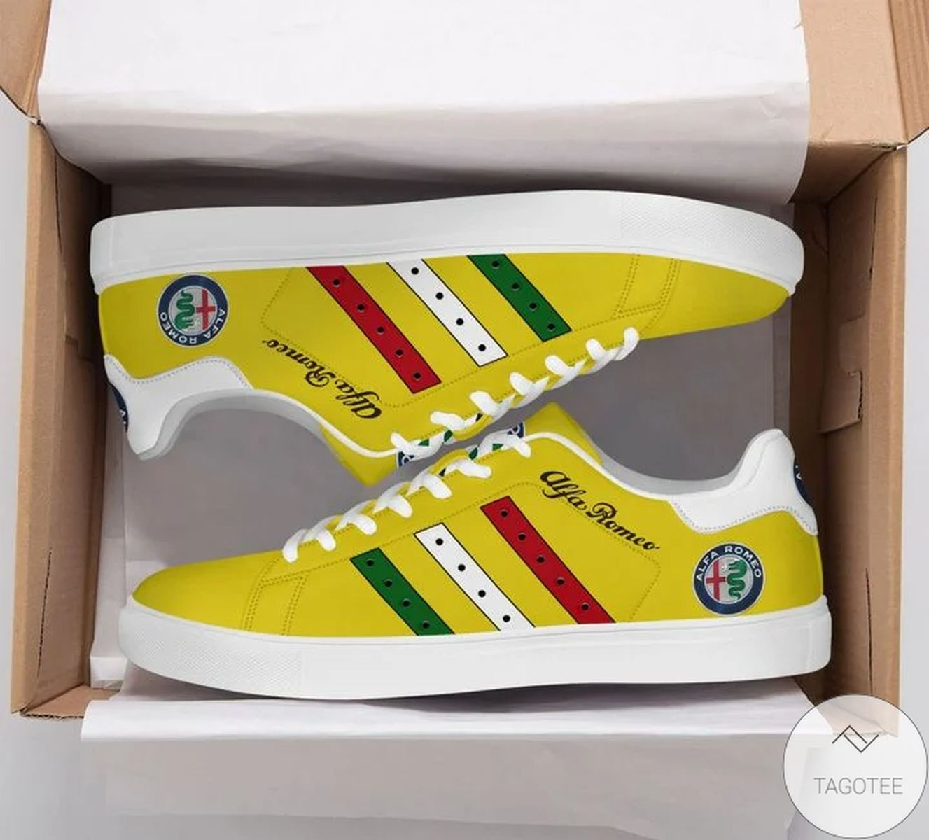 Ships From USA Alfa Romeo Yellow Stan Smith Shoes