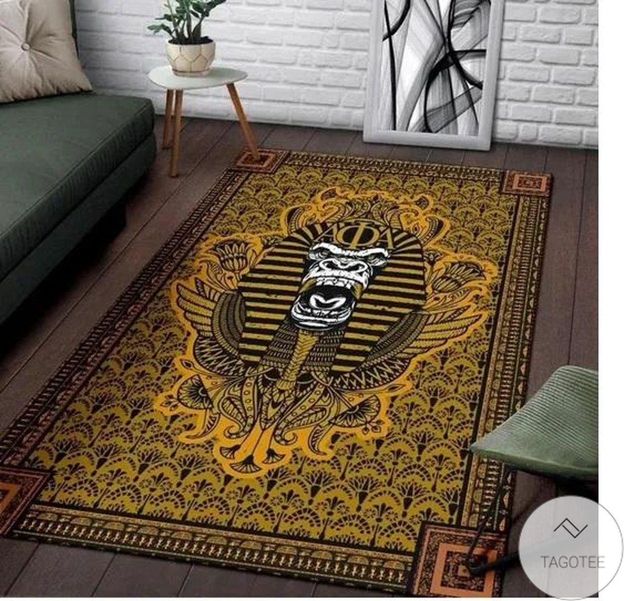 Alpha Phi Alpha 1906 Ape Mascot Floral Pattern Old Gold Background Rug