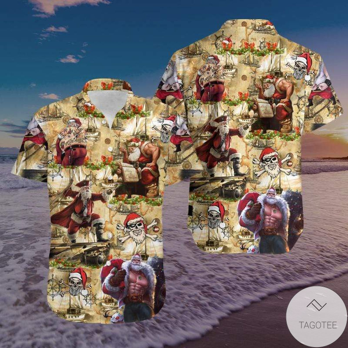 Amazing Pirate Santa Claus Unisex Hawaiian Shirt