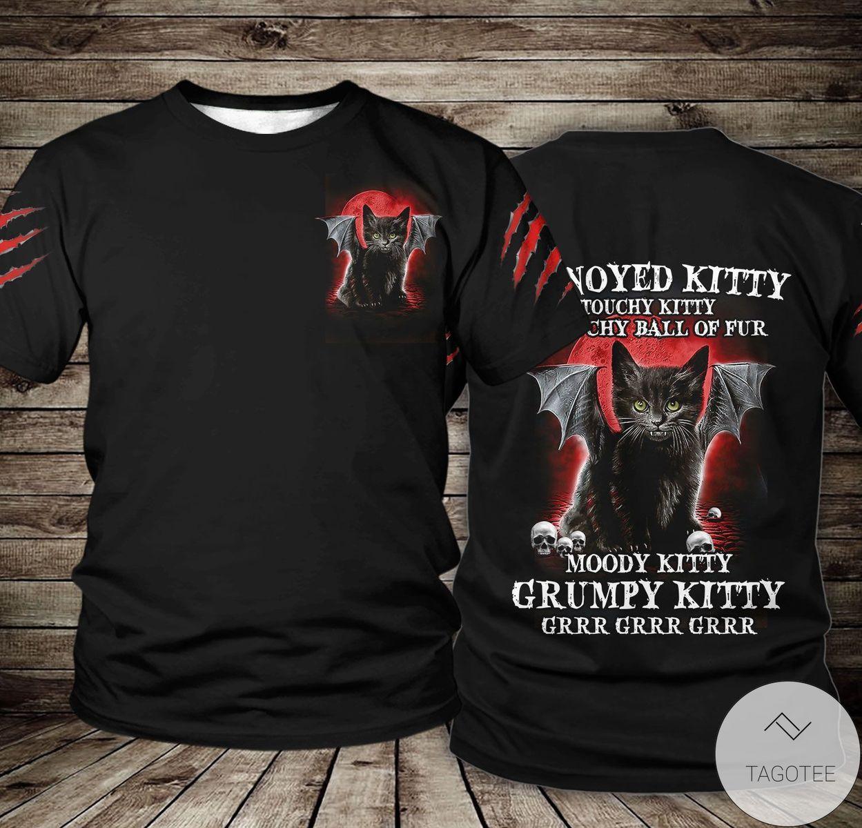 Hot Annoyed Kitty Touchy Kitty Grouchy Ball Of Fur Halloween 3D T-shirt