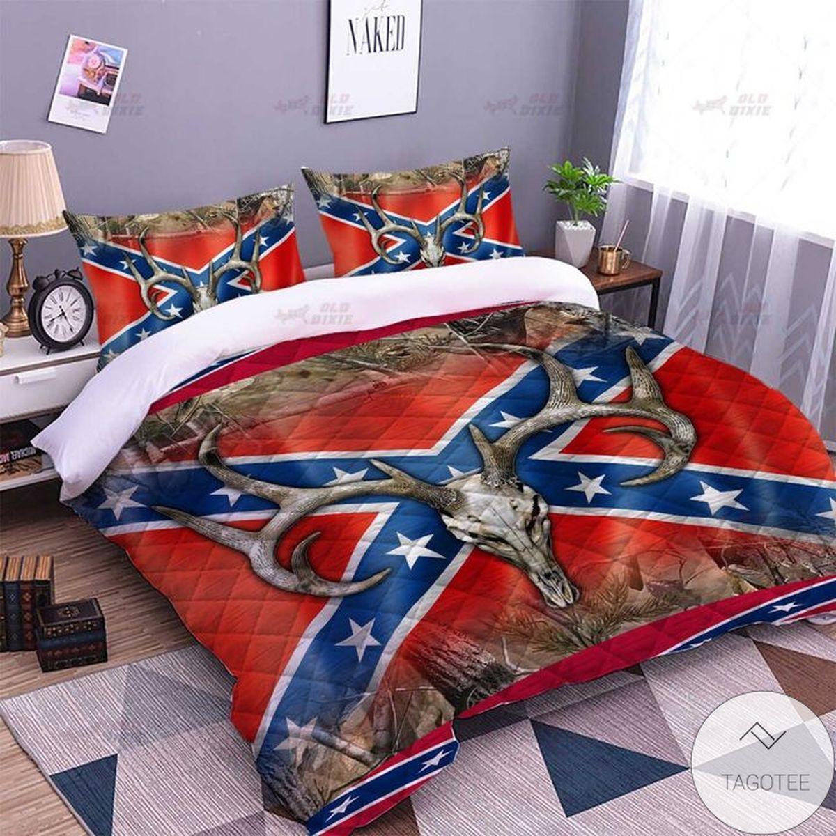 Nice Antelope Horns Southern Rebel Flag Quilt Bedding Set