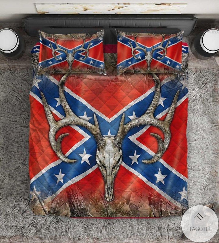 Free Antelope Horns Southern Rebel Flag Quilt Bedding Set