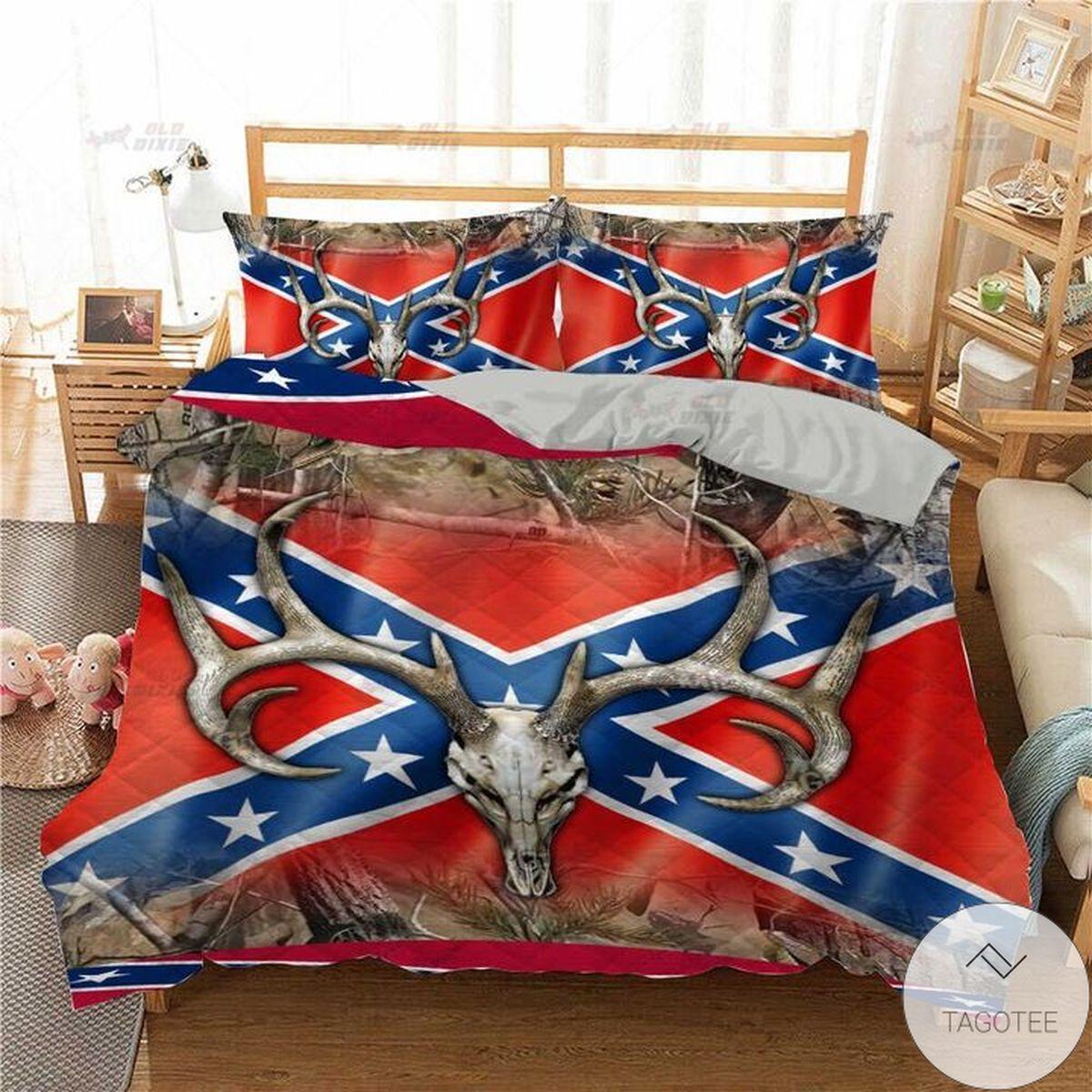Great Antelope Horns Southern Rebel Flag Quilt Bedding Set