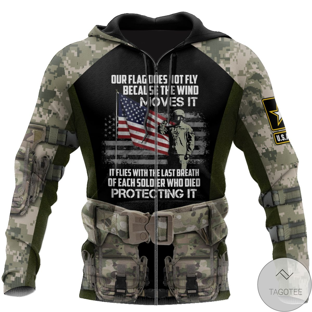 Funny Tee Army Veteran Our Flag Does Not Fly Because The Wind Move It 3D All Over Print Hoodie