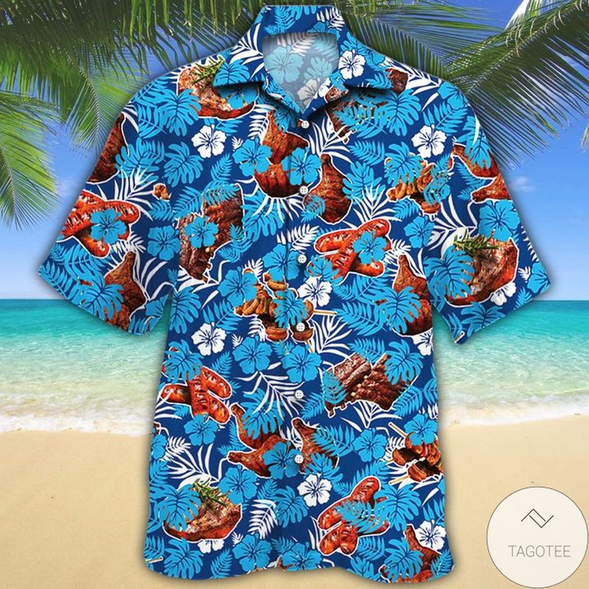 Clothing BBQ Lovers Blue Floral Hawaiian Shirt