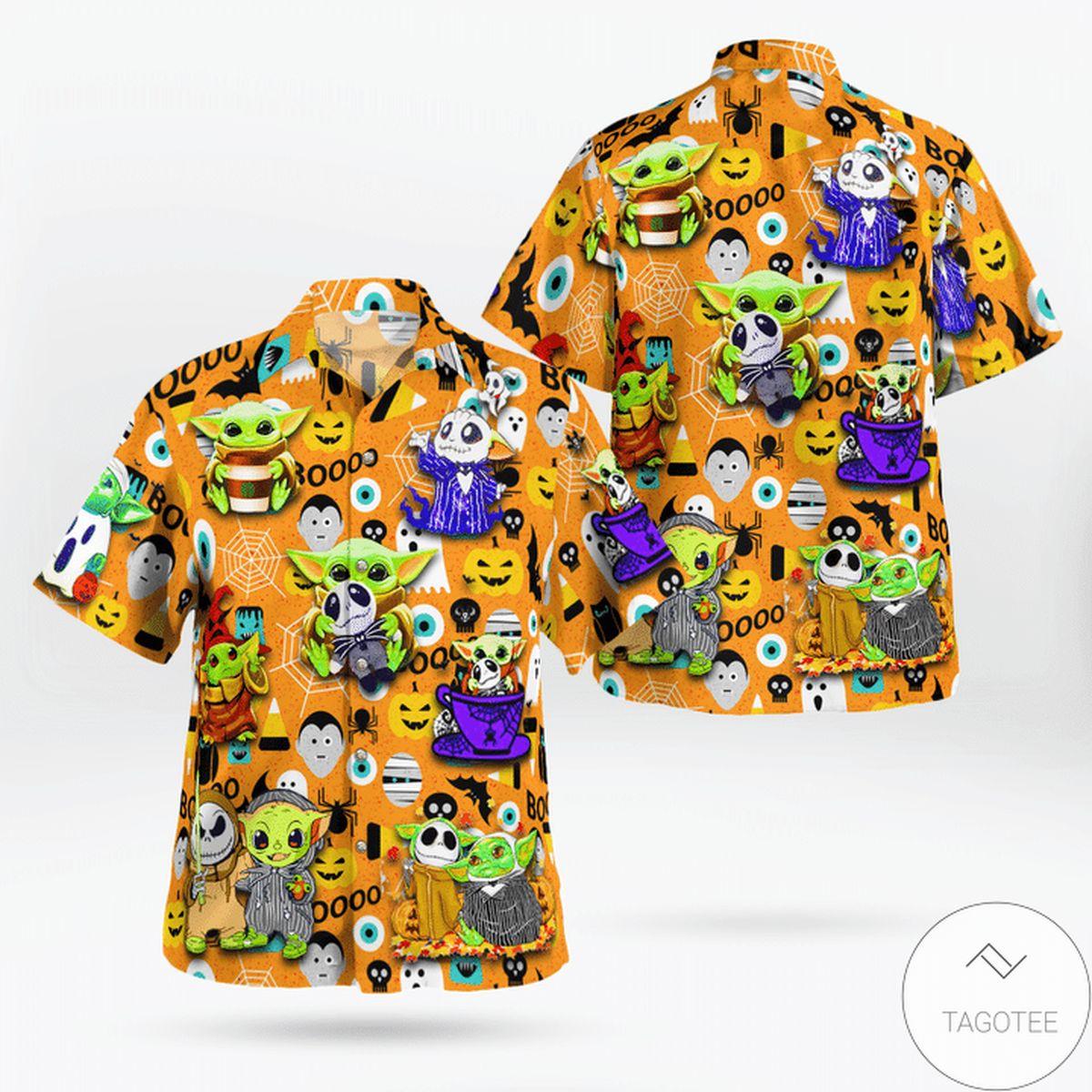 Baby Yoda Boo Halloween Hawaiian Shirt
