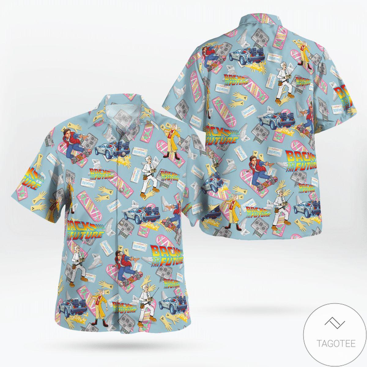 Back To The Future Pattern Hawaiian Shirt