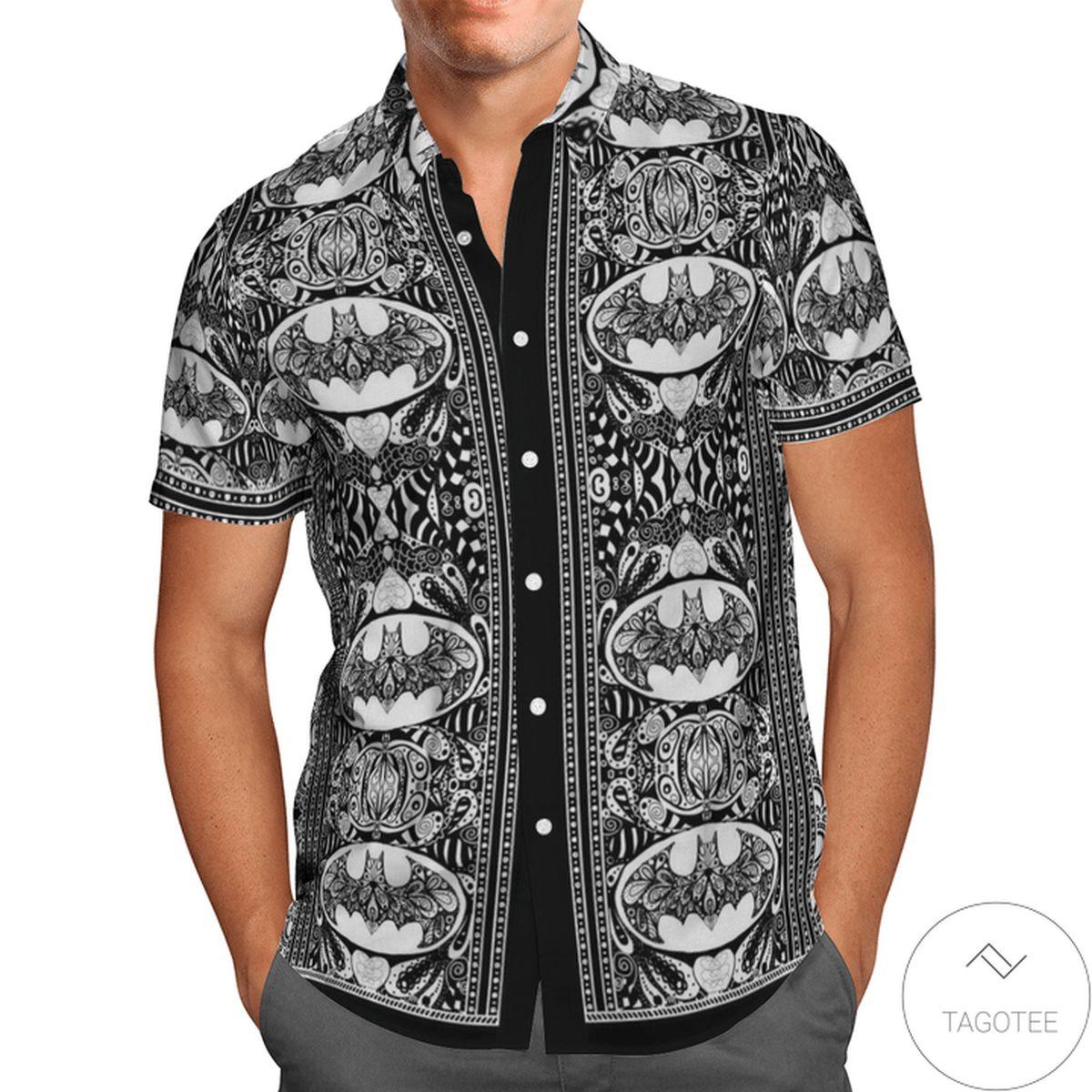 Unisex Batman Paisley Black And White Hawaiian Shirt