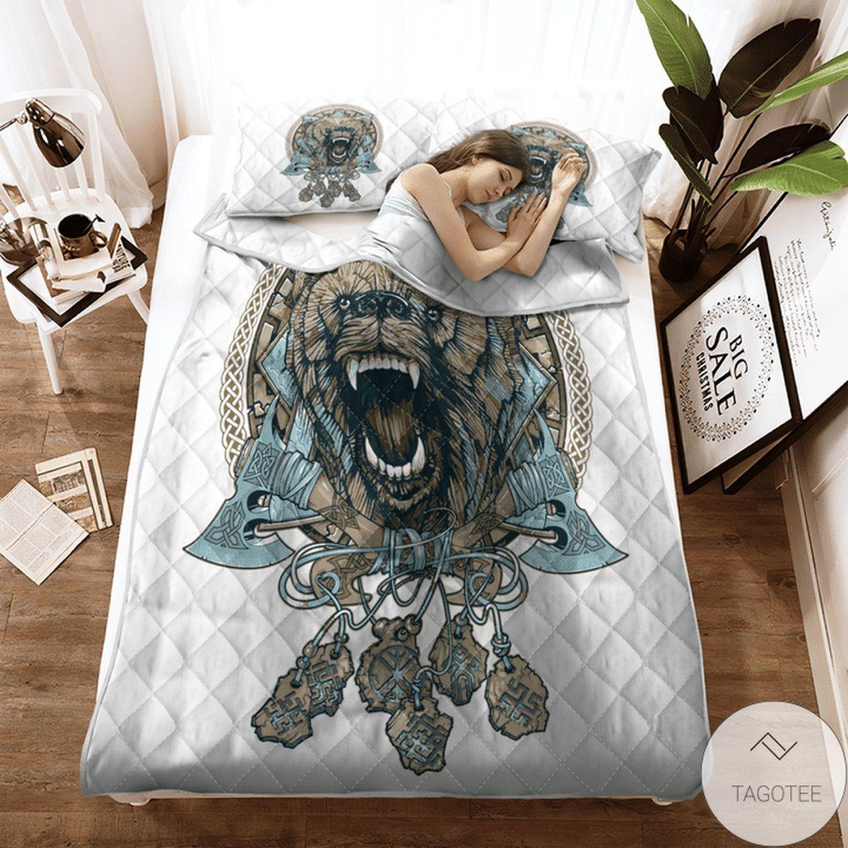 Bear Viking Quilt Bedding Set z