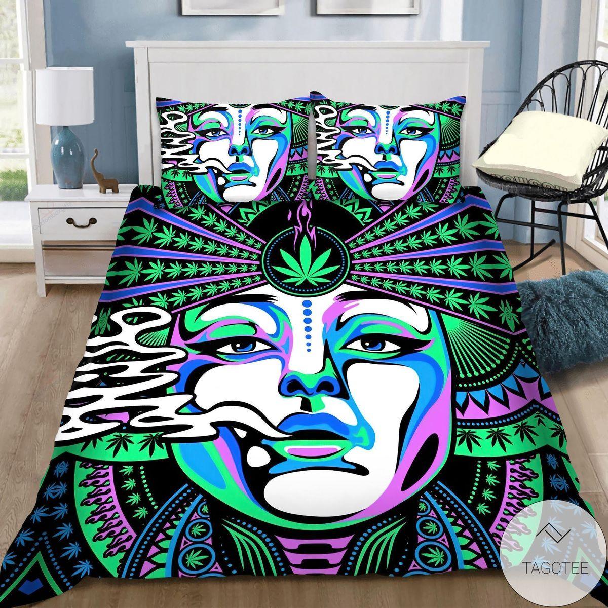 Funny Tee Beautiful Face Hippie Girl Bedding Set